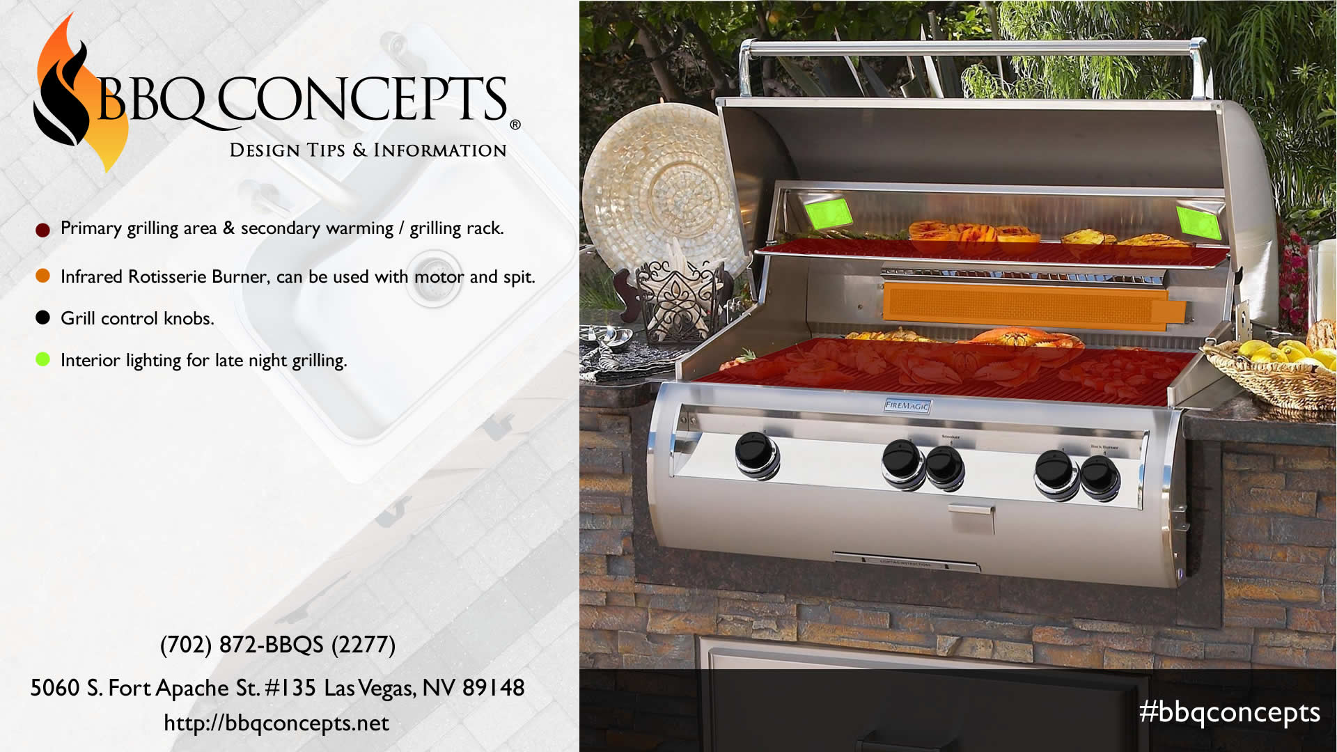 Professional Barbecue Grill Infographic - Grilling Surface and Rear Infrared Rotisserie Diagram