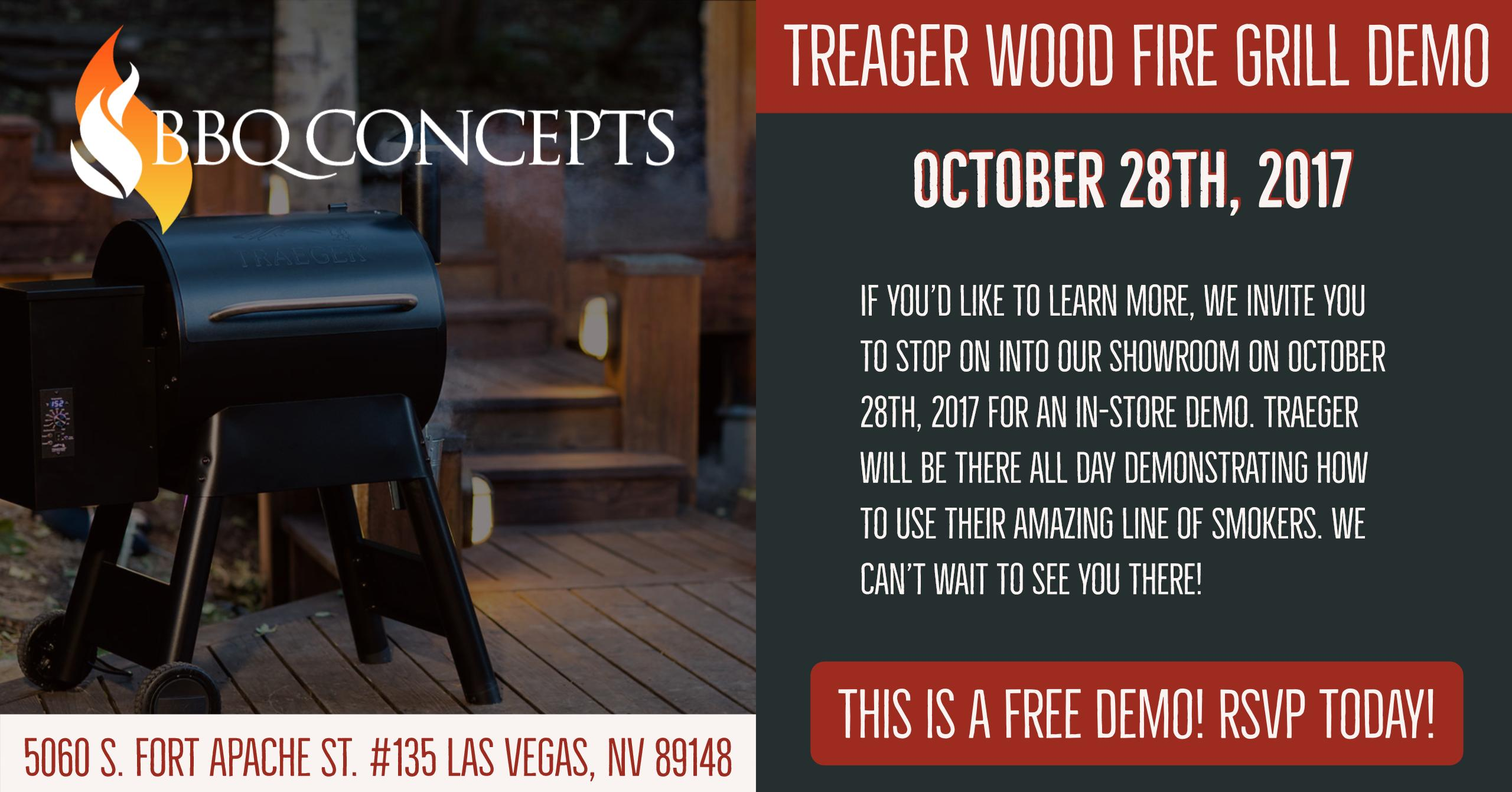 Traeger Wood Fire Grill Demonstration Day - Saturday, October 28th 2017 at BBQ Concepts of Las Vegas, Nevada