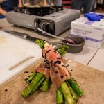 Prosciutto Wrapped Grilled Asparagus with Balsamic Glaze at the BBQ Concepts Grilling Class