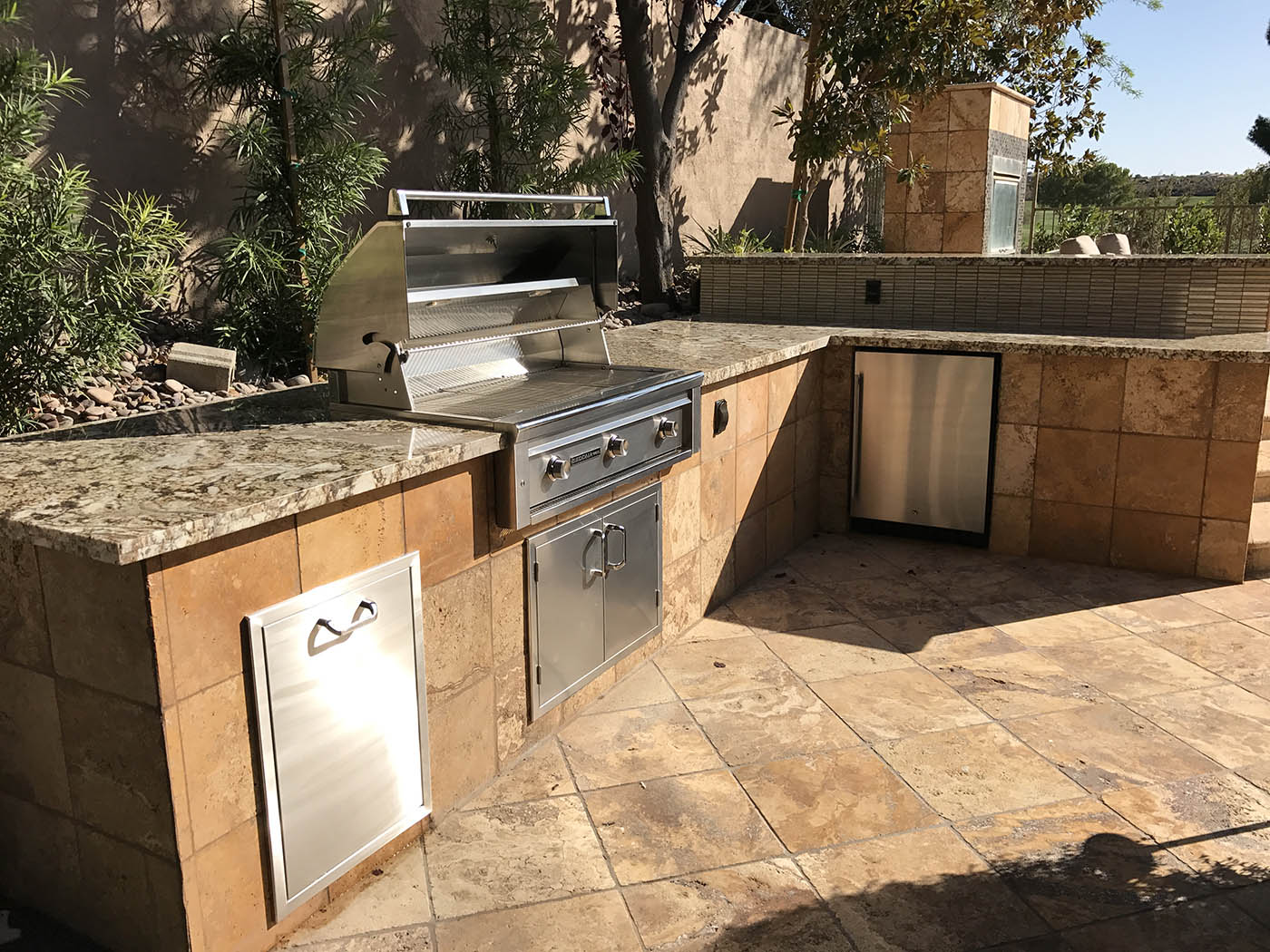 Custom outdoor kitchen outdoor fireplace outdoor living for Custom outdoor bbq kitchens