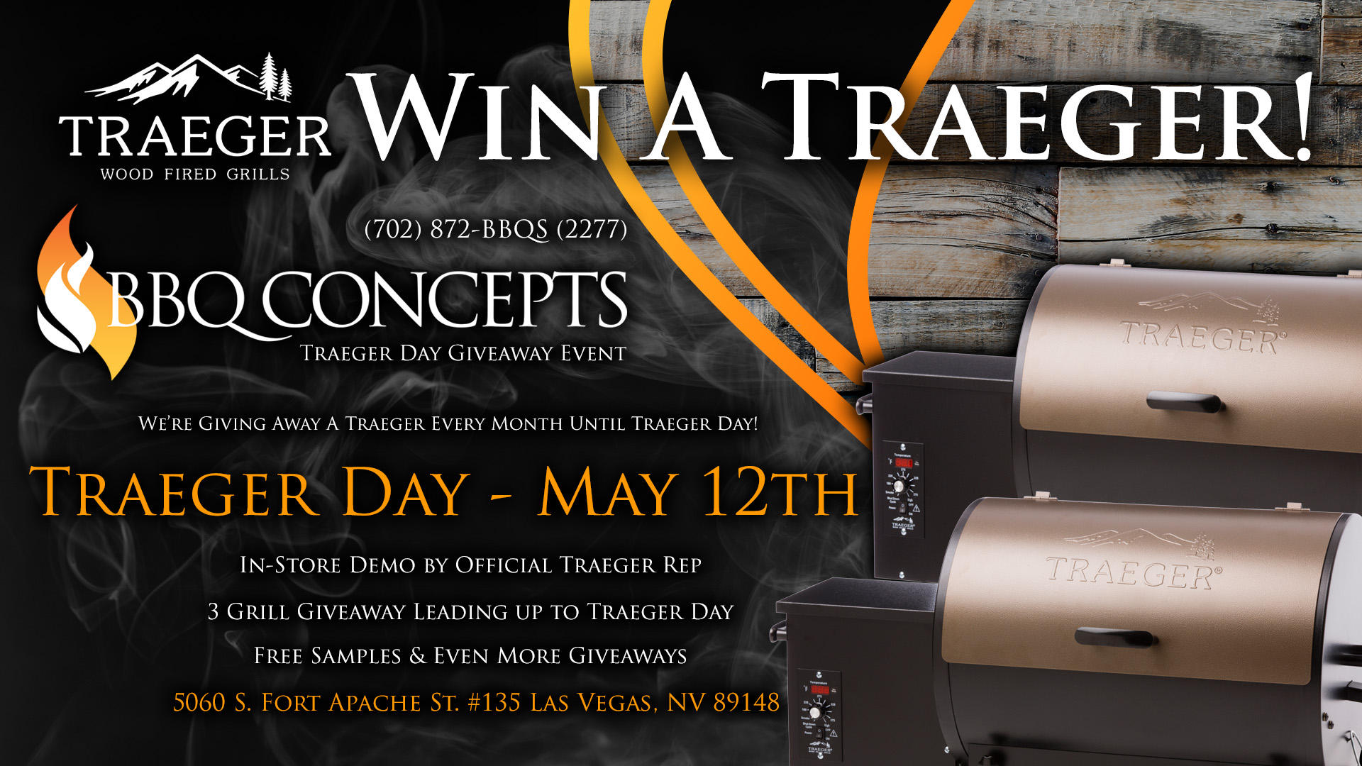 May 12th - Traeger Day at BBQ Concepts Event Promo