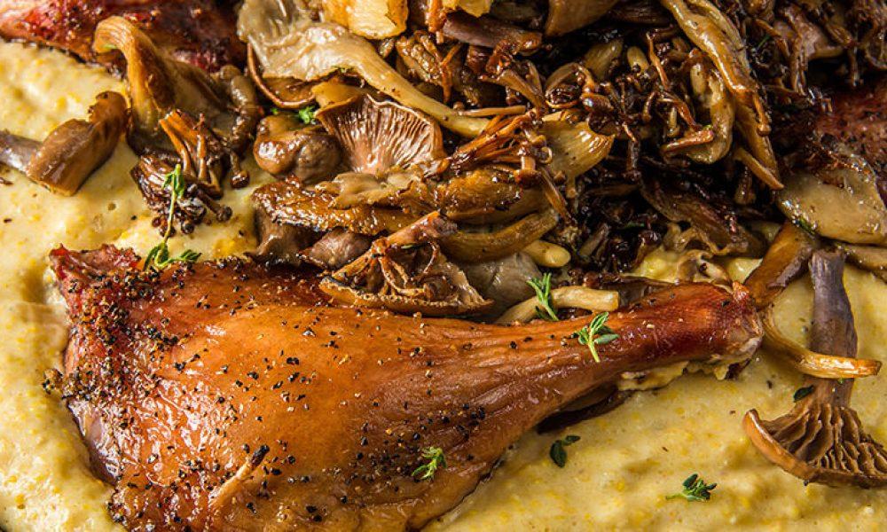 Duck Legs Polenta Mushrooms - Traeger Wood Pellet Grills
