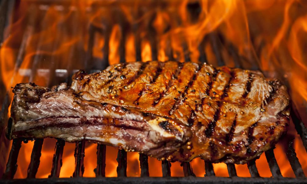 Grilling with Infrared Sear Zone and Traditional Style Burners