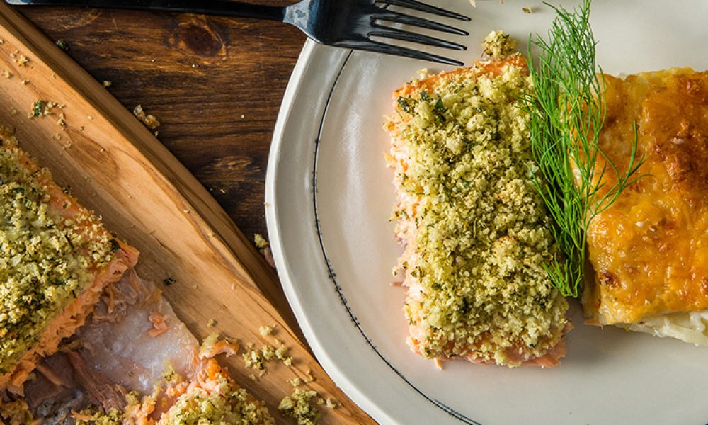 Traeger Recipe - Slow Roasted Wild Salmon with Cheesy Scalloped Potatoes